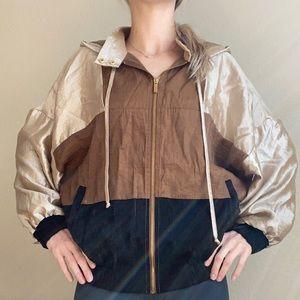 Zara gold brown black wind breaker jacket metallic